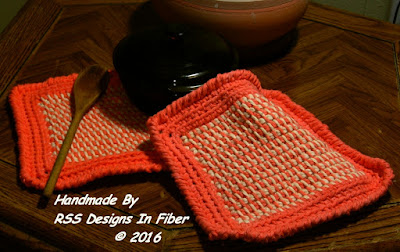 Orange and Cream Potholder Set in Tunisian Crochet Tweed by Ruth Sandra Sperling - RSS Designs In Fiber