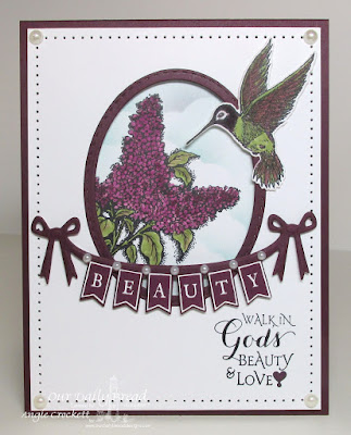 Our Daily Bread Designs Stamp sets: Pennant Swag Solid Alphabet, Hummingbird, Lilac,Sentiments Collection, Our Daily Bread Designs Custom Dies: Hummingbird, Stitched Ovals, Pennant Swag