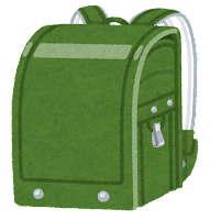 緑のランドセルのイラスト