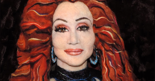 Needle felted portrait of Cher
