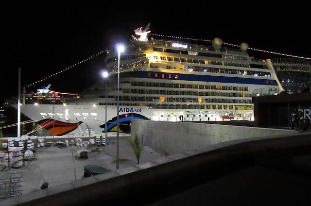the cruise ship AIDAsol (... sun) at night