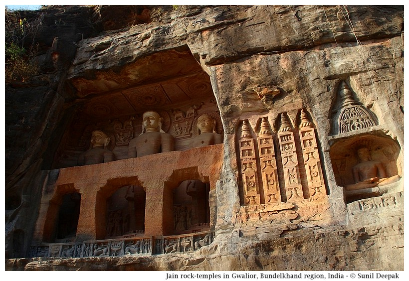 Jain rock temples, Gwalior, Bundelkhand region, central India - Images by Sunil Deepak