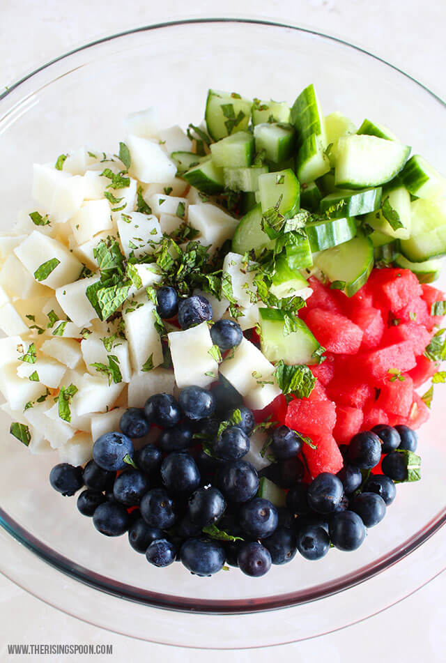 Watermelon Salad with Cucumber, Jicama, Blueberries & a Coconut Lime Dressing