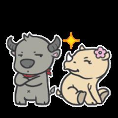 Male Buffalo & Female Rhinoceros (JP)