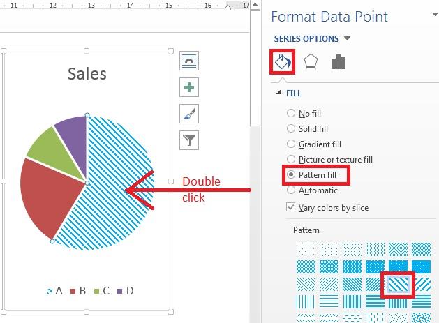 Cara membuat arsiran pada grafik diagram di microsoft office pada panel tersebut jika anda scroll geser ke bawah masih pada bagian pattern maka anda akan melihat pilihan warna foreground dan background ccuart Gallery