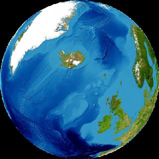 アイスランドはここです・地球儀で見るとここ