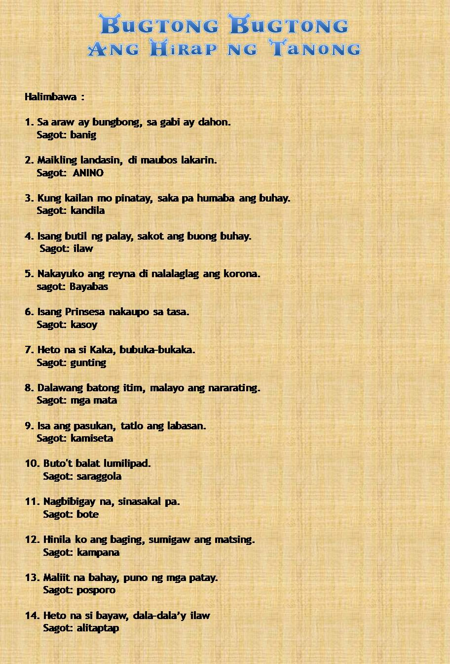 Makatang Pinoy Bugtong