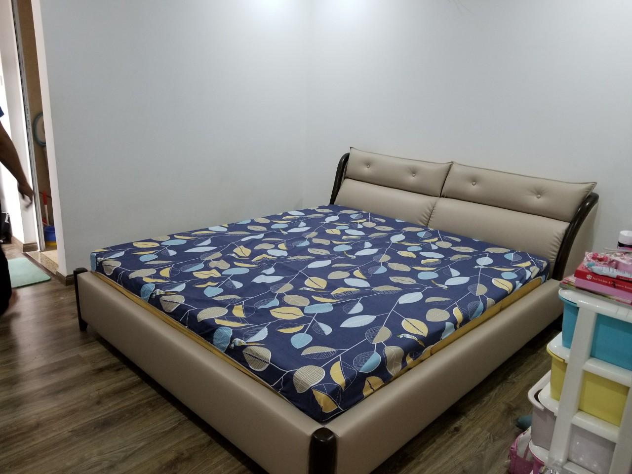 giường bọc da
