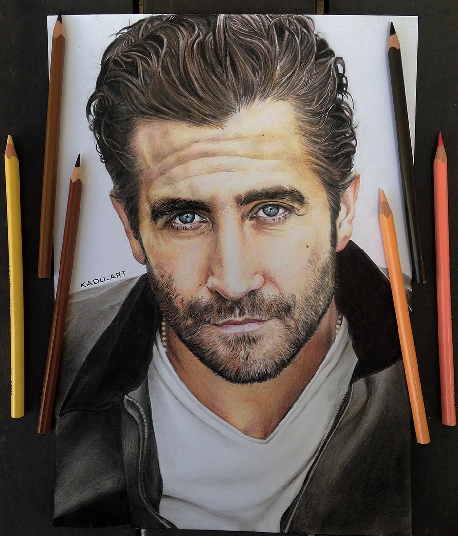 12-Jake-Gyllenhaal-Eduardo-Calil-Celebrity-Portrait-Drawings-Color-and-Black-and-White-www-designstack-co