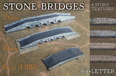 Stone bridges. Paper model set 6mm, 10mm, 15mm)
