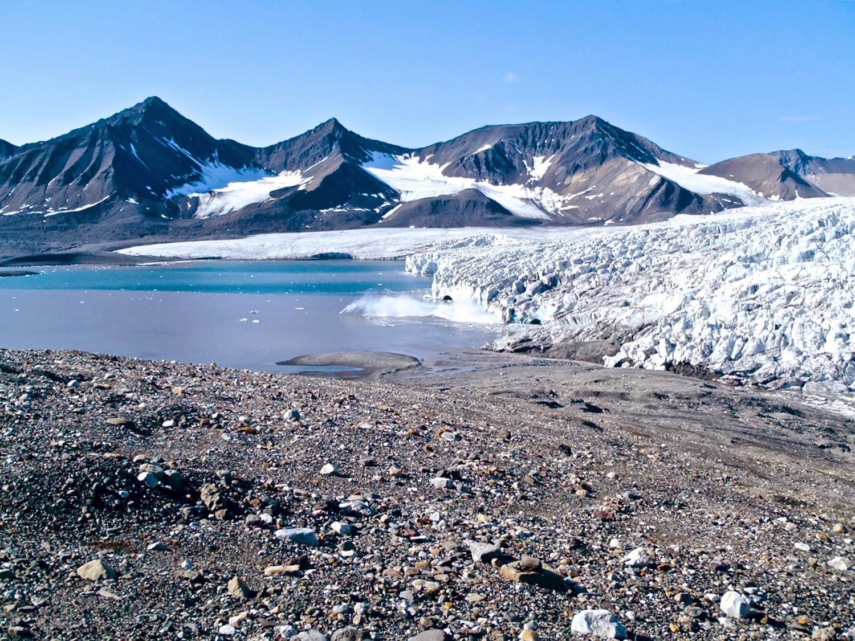 Esmarkbreen-Ymerbukta. Glaciar y morrena lateral