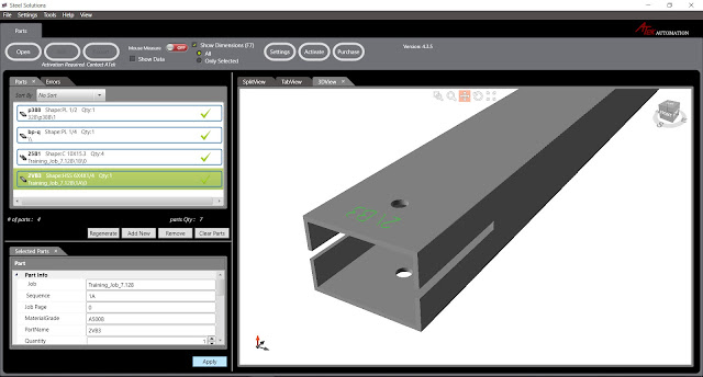 DSTV Viewer - просмотр 3D модели детали