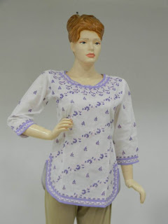 Lucknowi Chikan White Purple Tunic