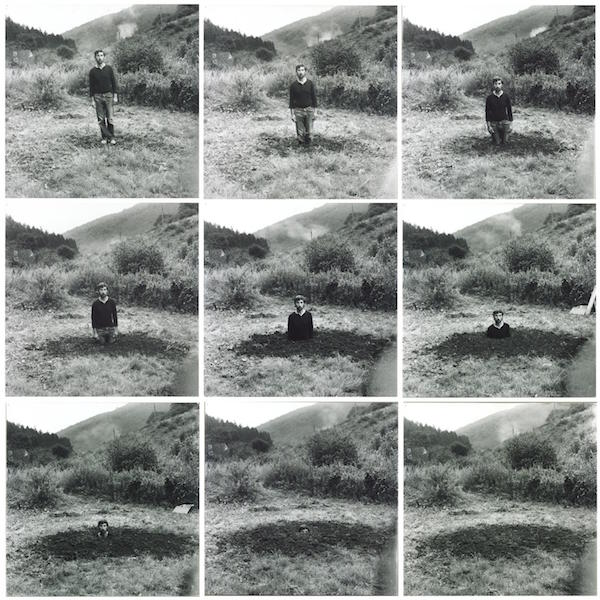 Keith Arnatt, Self-Burial (Television Interference Project) 1969