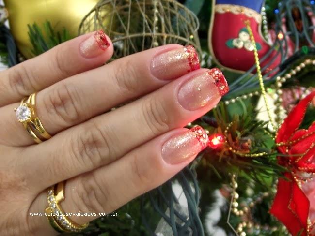 Unhas Francesinha Vermelha para o Natal - 2ª Opção