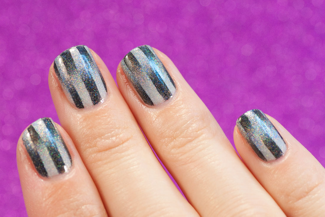31 Day Challenge Day 7, Black and White Nails - Holo Reciprocal Gradient nails