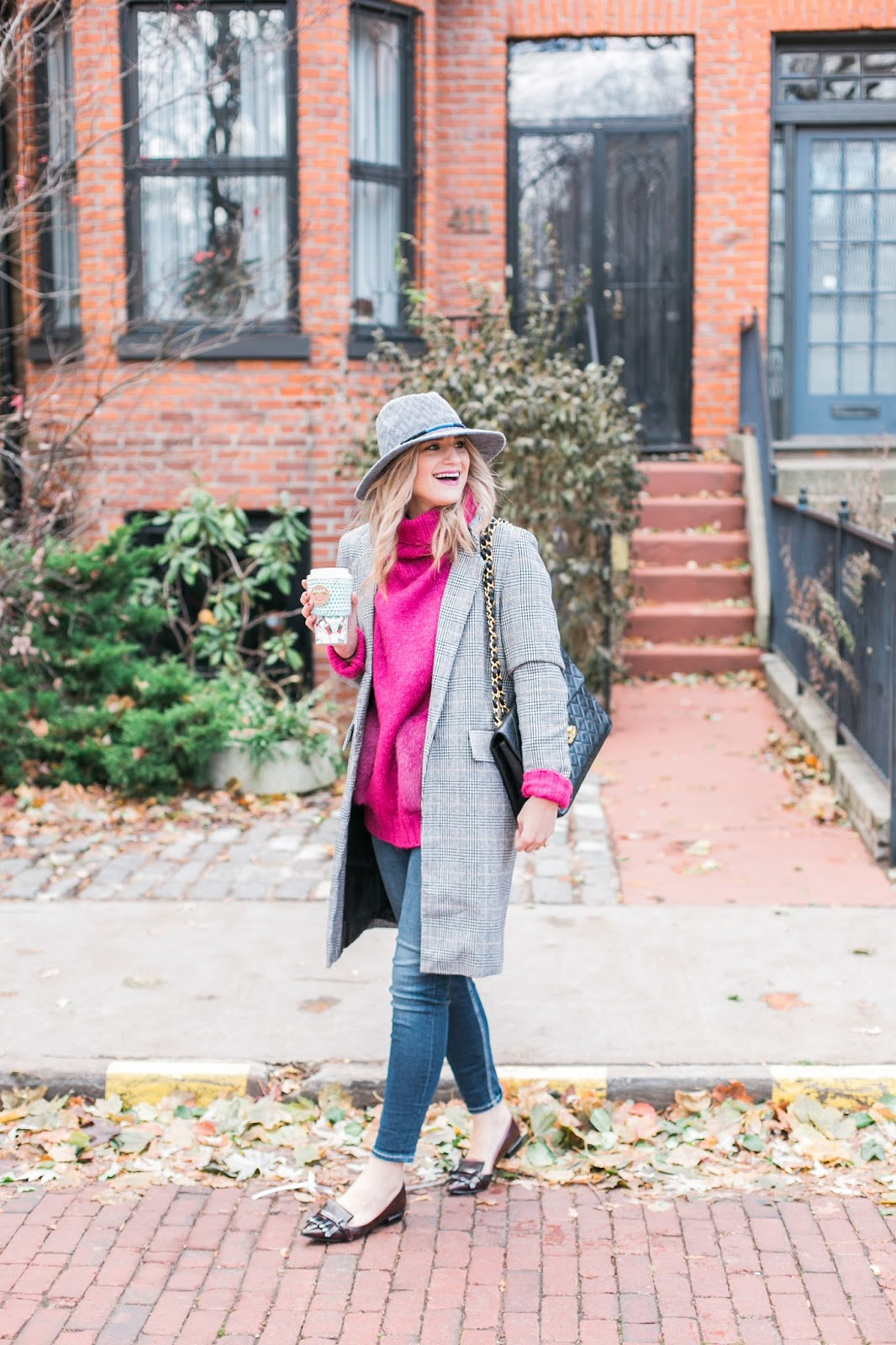 Bijuleni | How To Dress Like a French Girl  - Hat,  SheIN longline blazer, Vintage Chanel Handbag, Nine West maroon flats, Silver Jeans skinny jeans and Zara pink sweater.