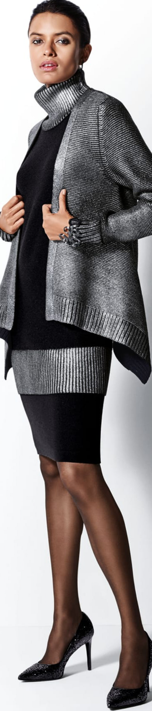 Madeleine Cardigan in Black/Silver