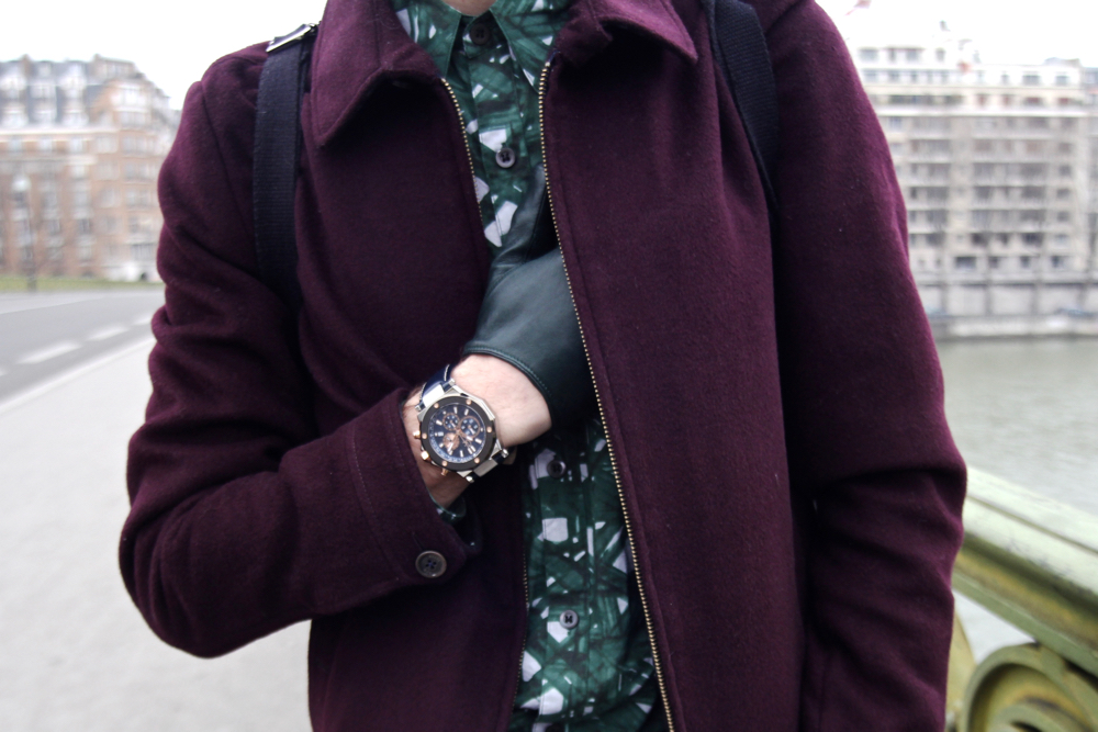 BLOG-MODE-HOMME_STYLE-Ted-Baker-Dries-Van-Noten-chemise-imprimée-verte-tropical-printed-shirt-mirabeau-paris-gc-watch-churchs-triple-sole-maison-fabre