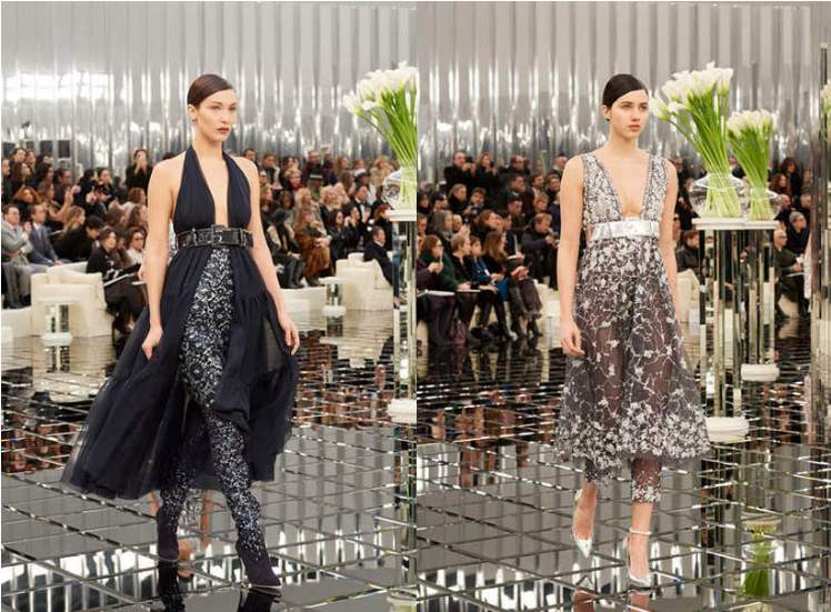 chanel-spring-summer-2017-couture-collection (37)-blue-floral-pants-solid-top-sheer-gown-pants-black-silver