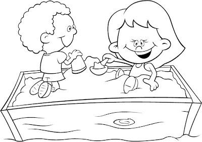 Niños Jugando Con Arena Para Colorear Dibujo Views