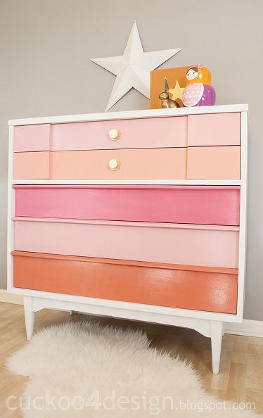 Coral Mid-Century Modern Dresser