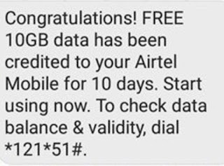 Airtel tricks - 10GB Free 4G data for 10 Days