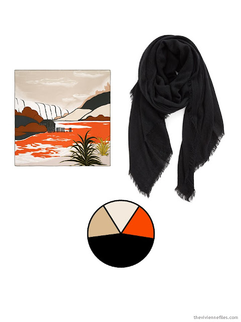 two classic scarves, in orange, black, and sand