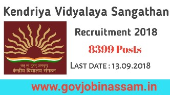 Kendriya Vidyalaya Sangathan Recruitment 2018 ,govjobinassam