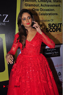 Actress Model Parul Yadav Stills in Red Long Dress at South Scope Lifestyle Awards 2016 Red Carpet  0073.JPG