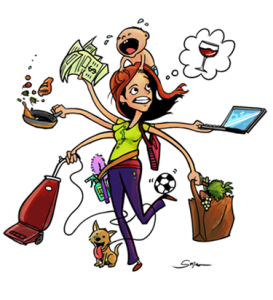 Funny gif of a frazzled mom, wife, counselor trying to balance it all.