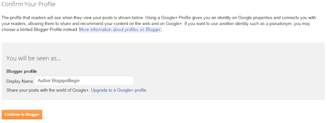 Step 5 How to Create A Blog On Blogspot : Confirm Your Profile