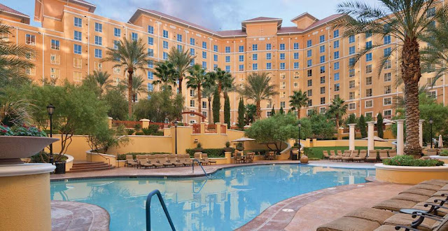 The Mediterranean-style, Wyndham Grand Desert mega resort has three towers that allow for beautiful mountain, dramatic Las Vegas and charming courtyard view of the lagoon-style pool.