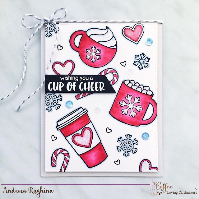 Sunny Studio Stamps: Mug Hugs Hot Cocoa & Coffee Christmas Card by Andreea Raghina