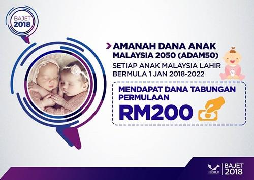 terima duit tabung anak rm200 amanah dana anak malaysia, gambar amanah dana anak malaysia 2050 – skim adam50, bajet 2018 untuk anak, buka akaun amanah dana anak malaysia