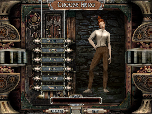 Dungeon Siege character creator screen