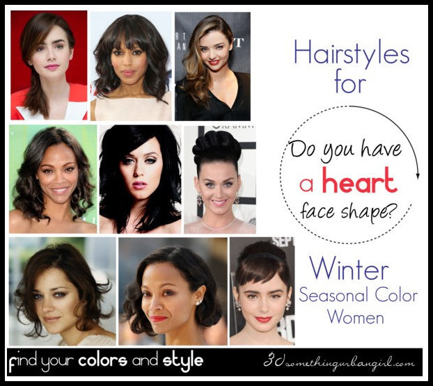 The best hairstyles for Winter seasonal color women with heart face shape