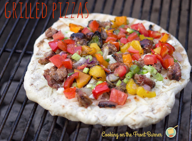 Grilled Pizza with veggies and sausage   Cooking On The Front Burner