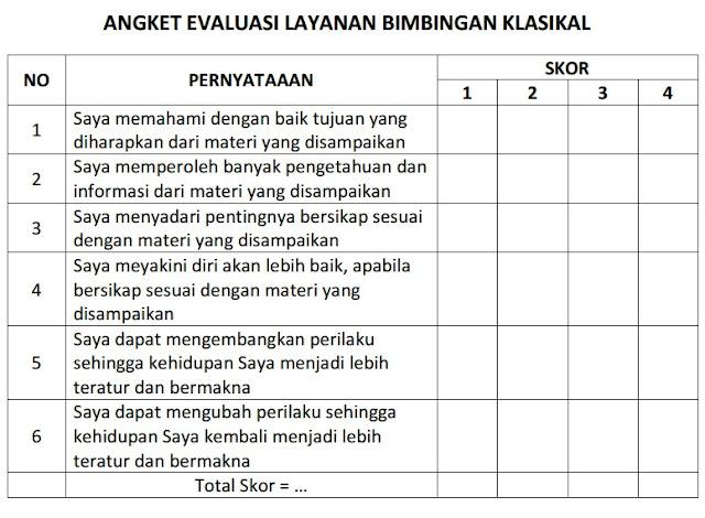 Angket Evaluasi Bimbingan Klasikal