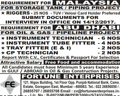 Malaysia & Abu Dhabi Job Vacancies | Fortune Enterprises