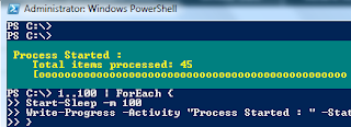 Show PowerShell Process Output Status
