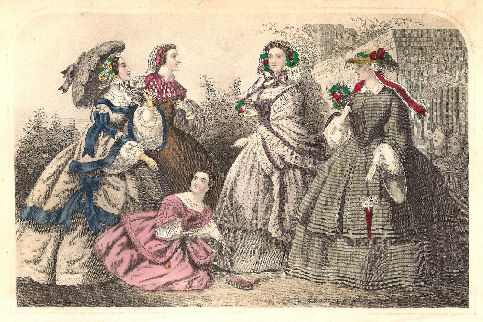 153464fc81 Victorian Fashion Clip Art  4 Victorian 1859 Women s Walking Dresses with  Parasols