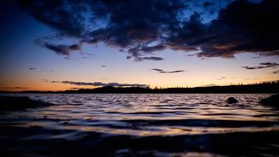 Lake, Sunset, Sky and Moon