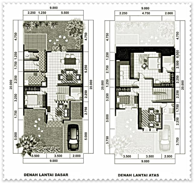 denah sketsa rumah type 45 minimalis modern
