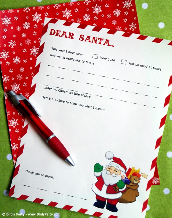 Free Dear Santa Party Printable Letter Template - BirdsParty.com