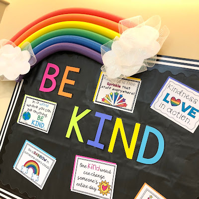 Pool noodle rainbow and BE KIND bulletin board