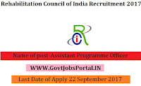 Rehabilitation Council of India Recruitment 2017–Assistant Programme Officer