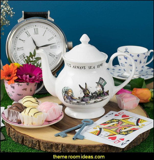 Alice In Wonderland 'It's Always Tea Time' Fine Porcelain Large Teapot