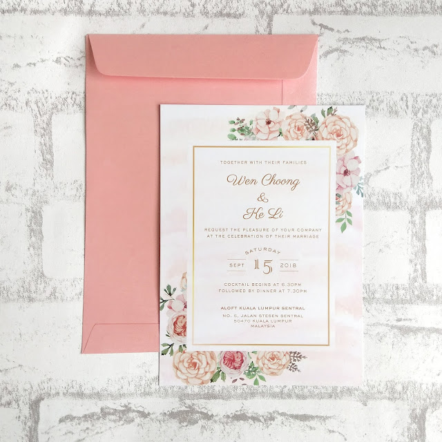 Floral Blush and Gold Wedding Invitation Cards