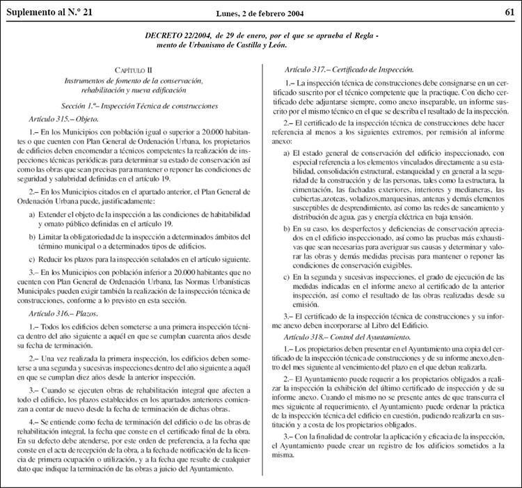 ite en valladolid reglamento urbanismo castilla y leon 2004